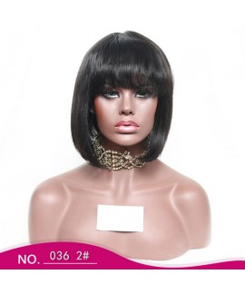 Short bob straight none lace front wig with bangs