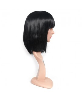 Black short bobo straight Synthetic wig with neat bangs