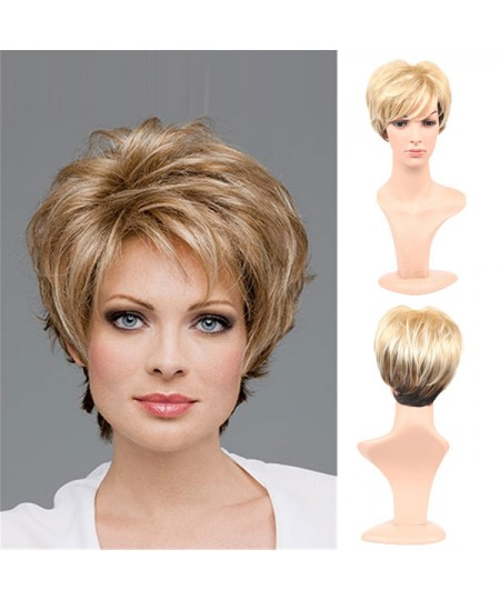 Fluffy short curly Gradient synthetic wigs