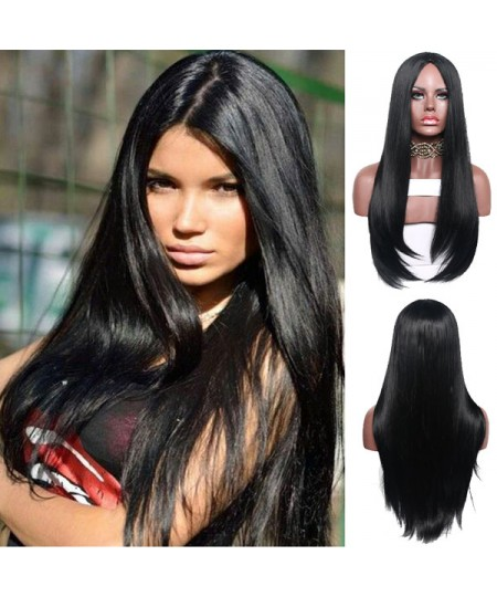 Black womens long straight none lace wigs