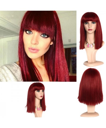 Red straight medium long cosplay hair wigs with neat bangs