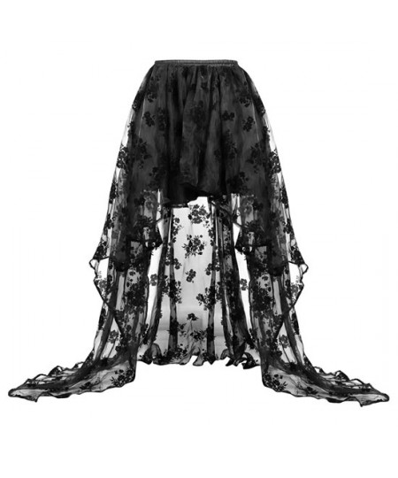 Organza ruffled high low skirt with embroidery patter for Corset