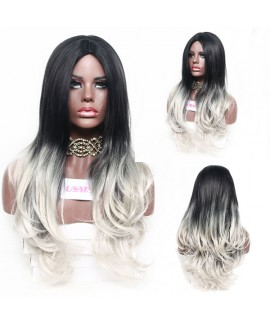 Cosplay black radient gray natural wave angelica synthetic wig
