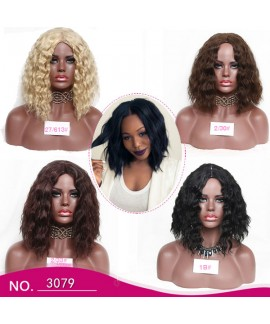 Womens medium long loose curl synthetic wig