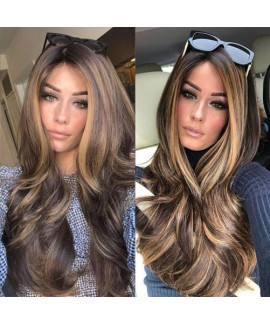 Classics brown long natural wave none lace synthetics wig