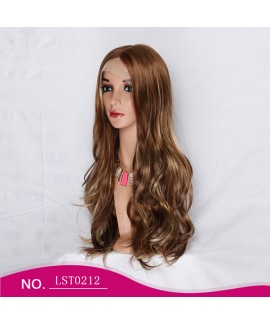 Classics brown long natural wave lace front synthetics wig without bangs