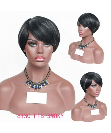 Short straight fancy synthetics mother hair wig