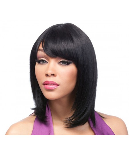 Straight bob Celebrity synthetic wigs with bangs