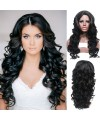 Black natural wave angelaca synthetic kanekalon wig
