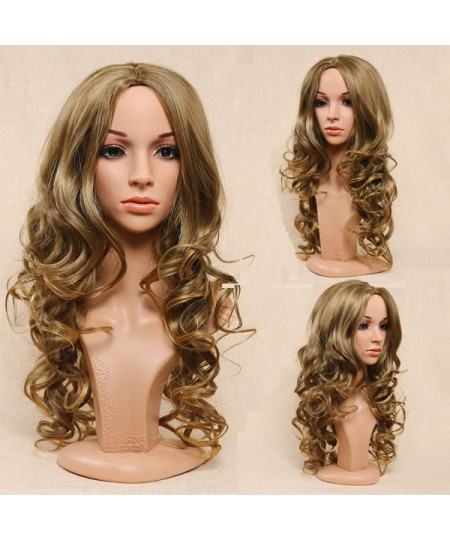 Cosplay blonde long body wave synthetic wig