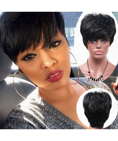 Black short straight mother winner synthetic wigs