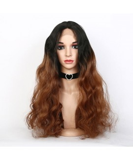 Front lace black gradient brown hand woven synthetic hair wig for women
