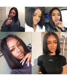 Short Bob Peruvian Straight Virgin Remy Human Hair Lace Front Wigs For Black Women