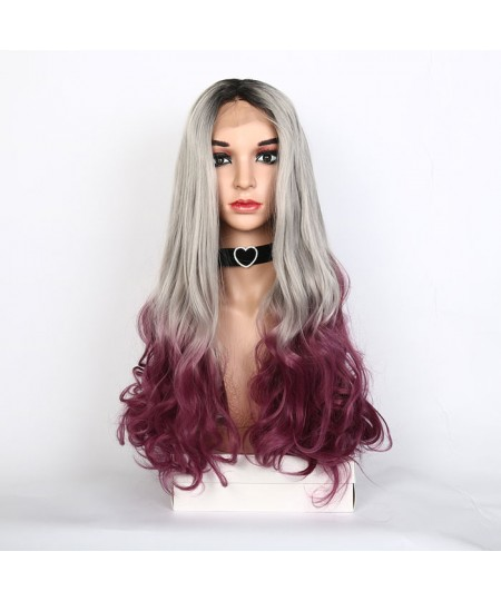 Classics dyed body wave grey lace front kanekalon synthetic wig