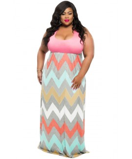 Plus Size Summer Pink Top Multicolor Zigzag Maxi Dress