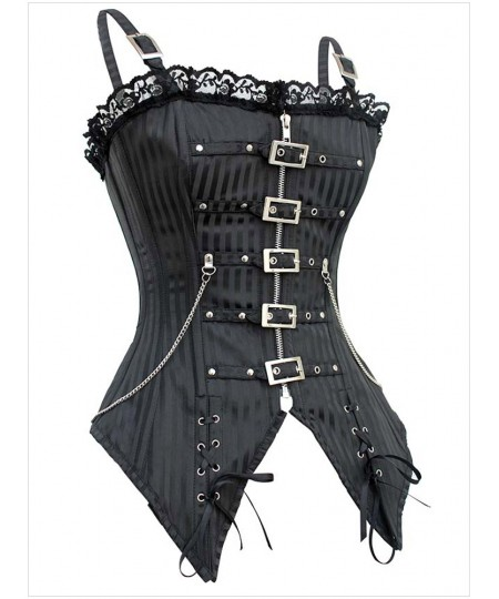 Striped Gothic Punk Overbust Corset