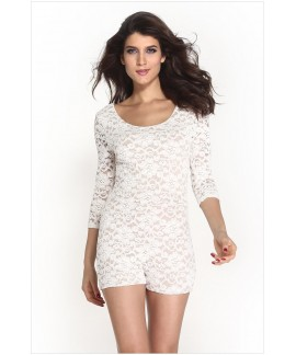 Lace Nude Illusion Knotted Key-Hole Back Romper