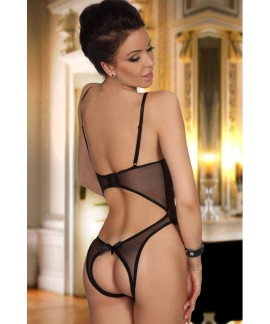 Black Open Cup Crotchless One-piece Teddy
