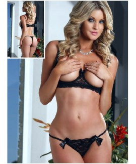 Open Cups Bra Lace Lingerie Set
