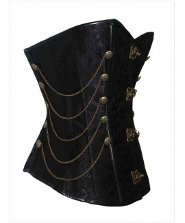 Black Steampunk Style Over Bust Corset with Chain