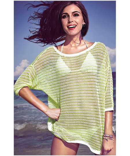 Sexy fashion round neck fifth sleeve stitching fruit green hollow Beachwear