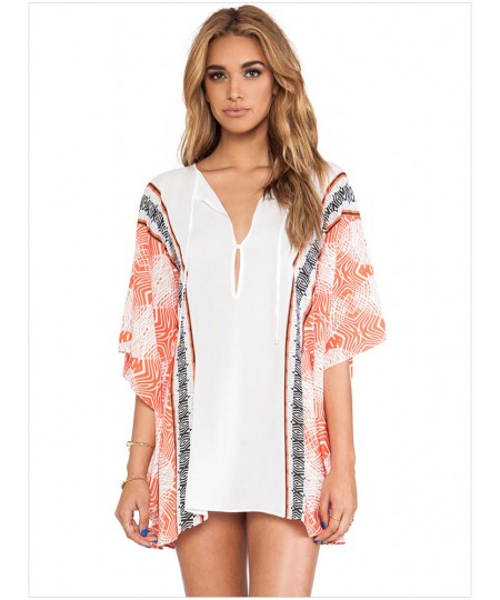 Stylish and elegant kimono sleeve Tee printed chiffon blouse sexy beachwear