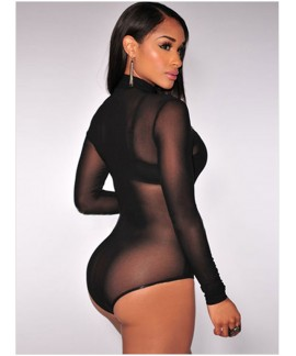 Black Mesh Unlined Mock Neck Bodysuit