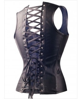 Steel Bone Reinforce Lace Up Leather Corset with Thong