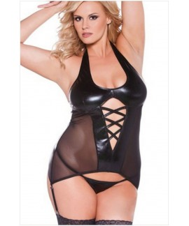 Plus Size Halter Leatherette Mesh Bustier with Garter Belt