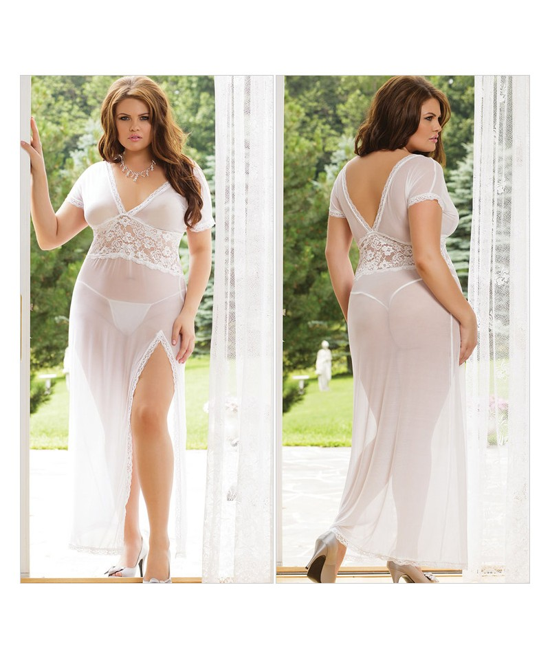 Plus Size Mesh and Lace V Neck Lingerie Gown - Sheinline