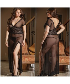 Plus Size Mesh and Lace V Neck Lingerie Gown