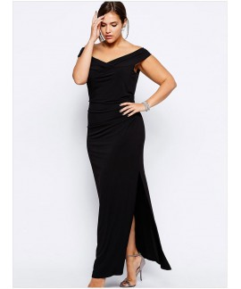 Black Drop Shoulder Plus Size Dress