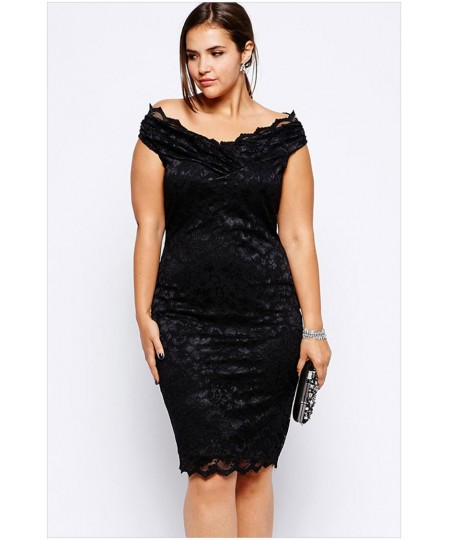 a47b82b776b41 Lace Overlay V Neck Plus Size Dress - Sheinline
