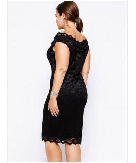 Lace Overlay V Neck Plus Size Dress