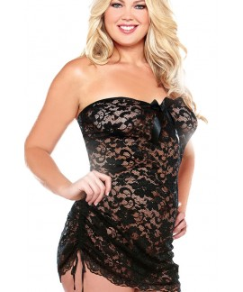 Plus Size Strapless Lace Chemise Dress
