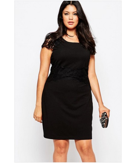 a91bb70cf069f Black Lace Cap Sleeveless Plus Size Pencil Dress - Sheinline