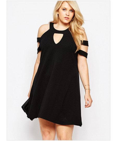 Black Plus Size Cold Shoulder Swing Dress