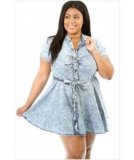 Skater Denim Plus Size Dress