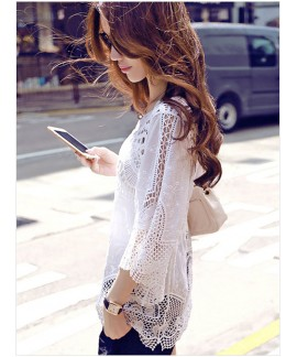 New summer sexy hollow embroidered patch blouse casual beach dress