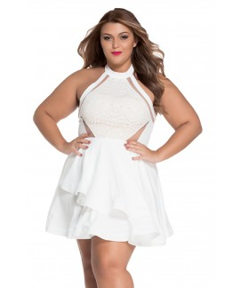 Plus Size Lace Nude Irregular Layered Peplum Dress
