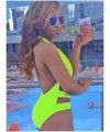 Neon Green Cut-out Back Open Teddy One-Piece Swimwear