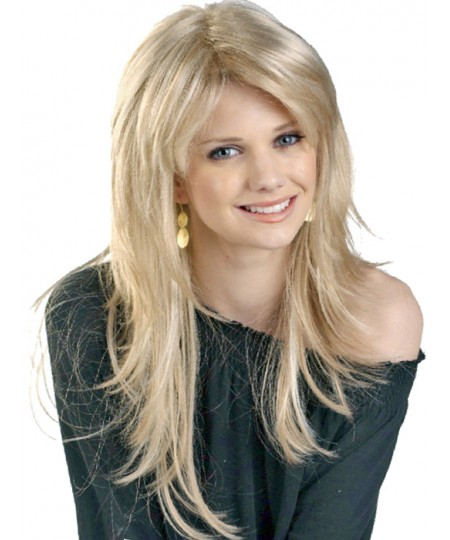 Womens mid-lenght straight blond layered wig