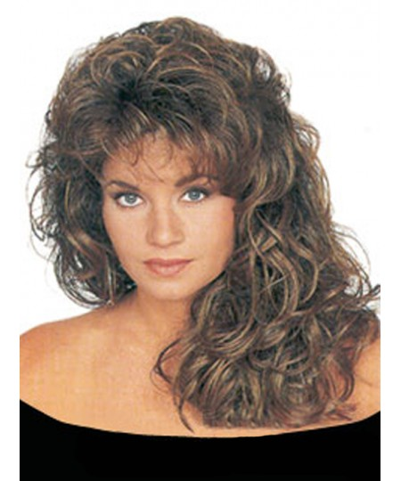 Mid-lenght curly womens natural hair wig