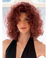 Wine curly medium long womens synthetic hair wig