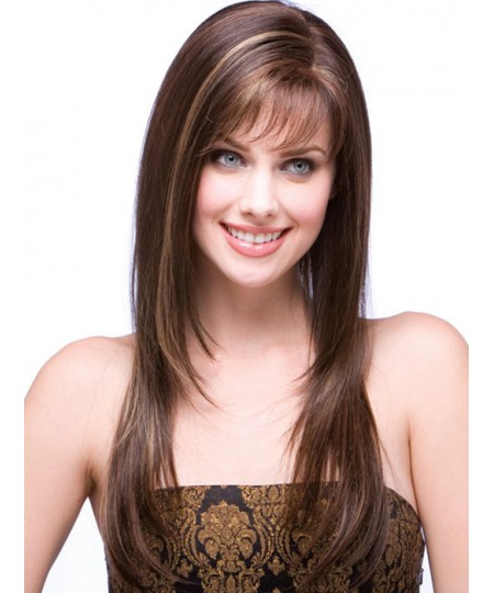 Straight medium long womens synthetic hair wig with bangs