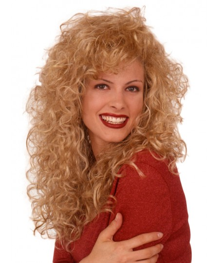 Curly long womens synthetic hair wig