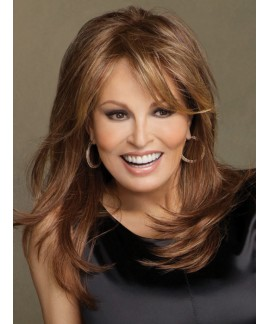 Straight mid-length womens layered synthetic hair wig