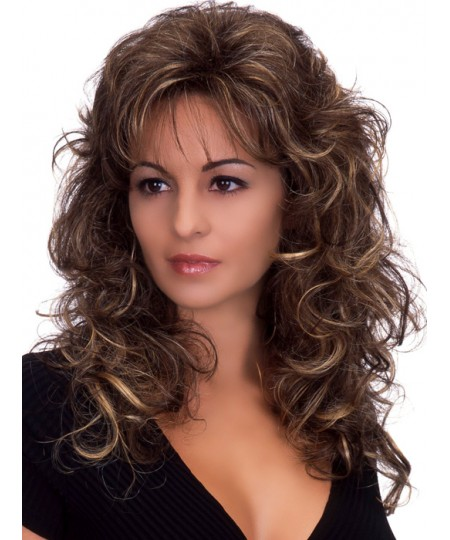 Curly mid-length womens layered synthetic hair wig