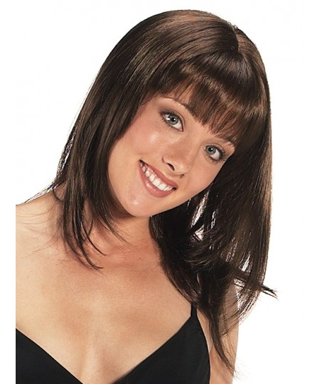 Mid-length straight womens natural hair wig with bangs