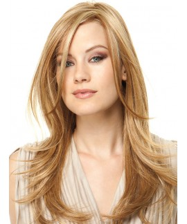 Mid-length curly & straight womens layered reelable wig